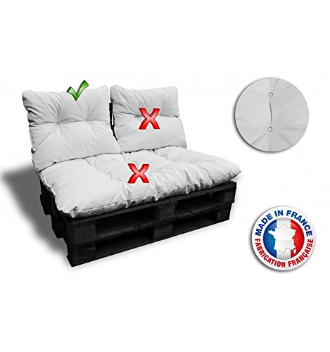 COUSSIN DOSSIER pour canapé euro PALETTE 60*55 cm blanc épaisseur 17 cm ! Le moins cher du net! FABRIQUE EN FRANCE
