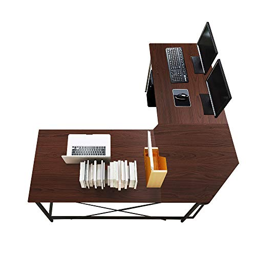 soges Eckschreibtisch L-Form Computertisch Winkelschreibtisch großer Gaming Schreibtisch Bürotisch Ecktisch Arbeitstisch PC Laptop...