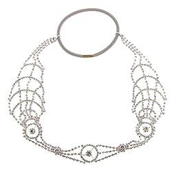 Phenovo Shiny Crystal Circle Elastic Headband Girls Woman Hairband Party Fancy Dress