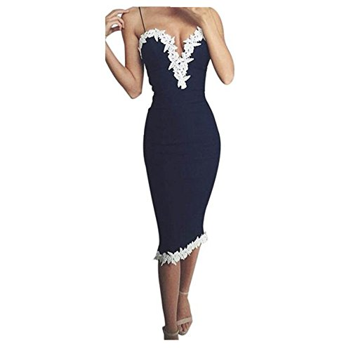 Fortan Women's Bodycon V Neck Floral Lace Evening Party Dress (S (EU 34), azul)