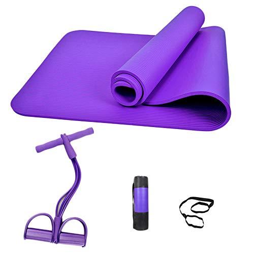 Skid-puller (ZZKJNIU Yoga-Matte AnfäNger Rally Anti-Skid Sport Fitness Mat Rucksack Dreiteiligen Hause MäNner Und Frauen ÜBung KöRper Muskelkraft,Purple)