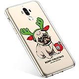 Uposao Handyhülle Huawei Mate 9 Schutzhülle Transparent Silikon Schutzhülle Handytasche Crystal Clear Durchsichtige Hülle TPU Cover Weich TPU Bumper Case,Weihnachten Haustier