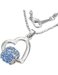 Mode Kristall Spinnrohr offen Liebe Herz Charm Halskette mit Schmucksteinen - Blau