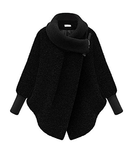 ZKOO Winterjacke für Damen Casual Warme Mantel Lange Ärmel Coat Outwear Schwarz