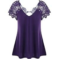 Gaddrt Womens Fashion V-Neck Plus Size Lace Short Sleeve Trim Cutwork T-Shirt Tops XL-5XL