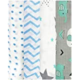 MOM'S HOME Organic Cotton Soft Baby Muslin Cloth Swaddle for 0-12 Months Pack of 4 Zigzag Dot, Elephant, Glider (Blue)