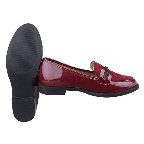 Ital-Design Slipper Damen Schuhe Low-Top Blockabsatz Blockabsatz Halbschuhe Weinrot