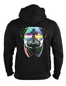Mops Zip Kapuzensweater - Kapuzensweatjacke Hund : DJ Pug -- Neon Hunderassen Motiv Zip-Hoodie