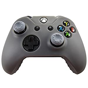 Pandaren Silikon hülle skin Schutzhülle für Xbox One controller (grau) x 1 + thumb grip aufsätze x 2