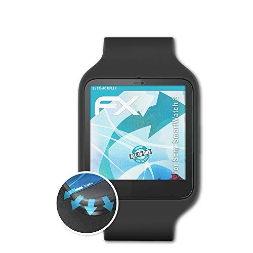 atFoliX Schutzfolie passend für Sony SmartWatch 3 Folie, ultraklare & Flexible FX Bildschirmschutzfolie (3X)