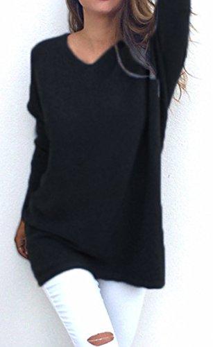 BLACKMYTH Femme Lacer Longue Chandail En Vrac Casual V-cou Pulls Tricot Noir