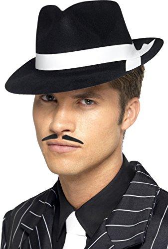Smiffys, Herren Al Capone Hut mit weißem Band, One Size, Schwarz, (Kostüm Band Ideen)