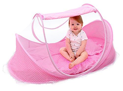 Cloud Kids Krippe Moskitonetz Falten Travel-cot Baby mit Reisebettmatratze und Kissen, Rosa