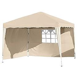 Vanage Pavillon Stella beige aus Aluminium mit 4 Seitenwänden, 300x300x260cm, Faltpavillon einsetzbar als Gartenpavillon, Party- und Festzelt, Camping- und Festival-Zelt, Gartenmöbel