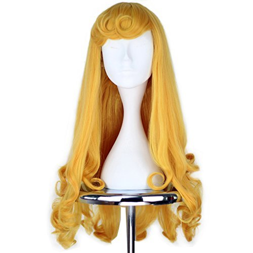 Miss U Hair C112 Kunsthaar-Perücke, für Mädchen, vorgestylt, lang, gelockt, Goldgelb, Cosplay