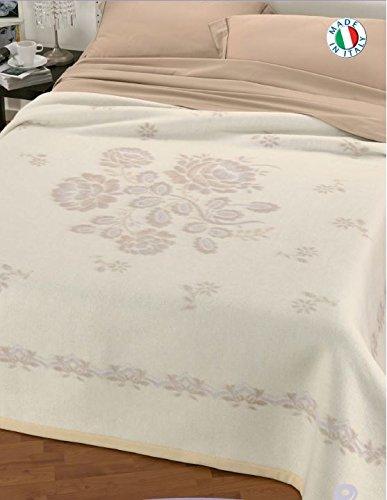 Centesimo web shop coperta in 100% lana matrimoniale beige prodotta in italia floreale classica 250x210 cm cammello made in italy