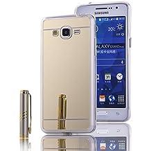 Funda Samsung Galaxy Grand Prime, LXHGrowH [Ultra Delgada] Carcasa con espejo para Samsung Galaxy Grand Prime Cover silicona tpu protectora Oro - LXHGrowH Cubierta