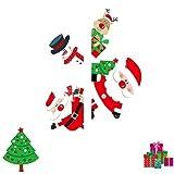HROIJSL 2019 Frohe Weihnachten Haushaltszimmer Wandaufkleber Wanddekor Aufkleber Abnehmbare Fensterglasaufkleber Bekleidungsgeschäft Wandaufkleber streichen Christbaumschmuck Ornamente