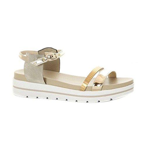 Nero giardini sandalo basso donna in pelle gold scarpe - Nero giardini scarpe donne ...
