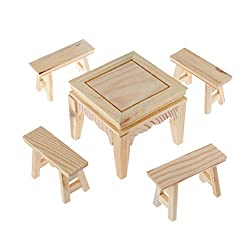 Magideal Set of Wooden Table with Four Benchs for Decoration