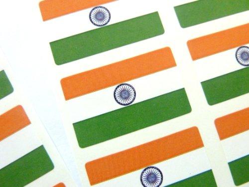 Paquete de 60 , 33x20mm , India Auto-adherente Bandera Pegatinas , Indio autoadhesivo Bandera Etiquetas
