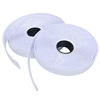 Hook and Loop Tape, Zenzus Self Adhesive Sticky Tape,5M Heavy Duty Reusable Self Adhesive Hook Loop Tape Roll (White)