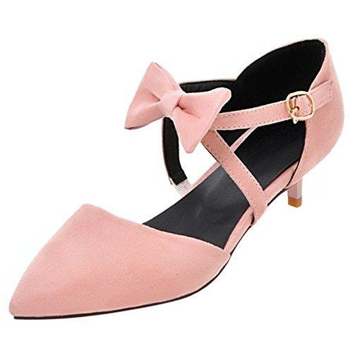 COOLCEPT Femme Mode Sangle De Cheville Sandales Kitten Heel Bout Ferme Chaussures Avec Bow Taille Rose