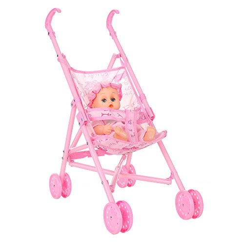 Docooler Doll Stroller Carriage Plegable Cochecito de muñeca portátil con muñeca para muñeca de 12 Pulgadas Mini Stroller Toys Gift Pink para bebés, bebés, cumpleaños