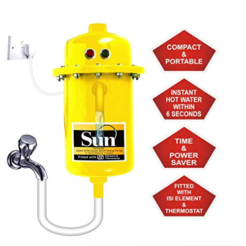 WinoteK Sun Instant Water Geyser, Water Heater, Portable Water Heater, Geysers Made of First Class ABS Plastic, automatic Reset Model, AE10-3 KW (Yellow)
