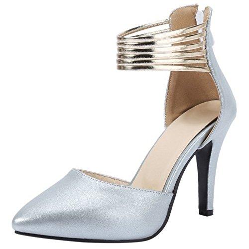 COOLCEPT Femme Mode Sangle De Cheville Sandales Talon Aiguille Bout Ferme Chaussures Fermeture Eclair Taille Argent