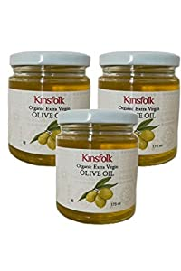 Kinsfolk Organic Extra Virgin Olive Oil - 175 ml ((Cold Pressed)) ((Pack of 3))
