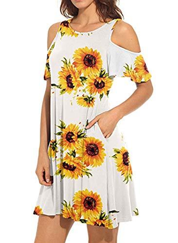 Starlifey Damen Kalte Schulter Kleid Langarm Kleider Causal Tunika T-Shirt Kleid mit Taschen - Kalte Schulter Kleid