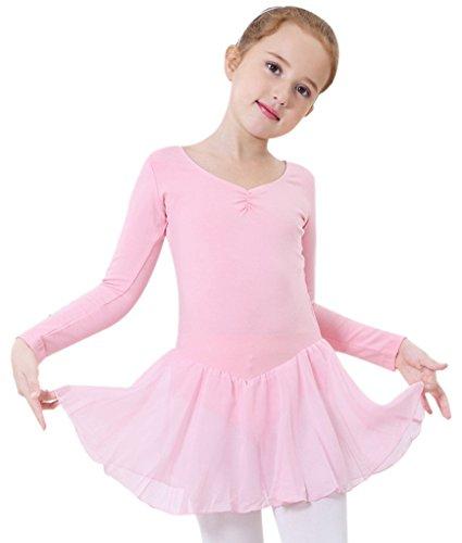 Happy Cherry Mädchen Langer ÄrmelBalletttrikot mit Chiffo Röckchen Ballettanzug Ballettkleid Größe 14 für Körpergröße 115-125cm - Rosa