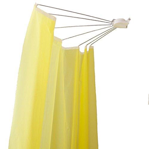 Baoyouni, asta curva per tenda della doccia con ventose a forma di l, ad angolo, per bagno, in metallo allungabile, fan-shaped, 144 x 88 x 13cm