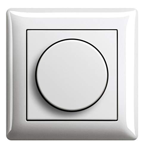 EBROM® Komplettset LED Drehdimmer + GIRA Rahmen 021103 und Dimmerscheibe  065003 reinweiß glänzend - UP Unterputz LED Dimmer - Phasenabschnitt, LED