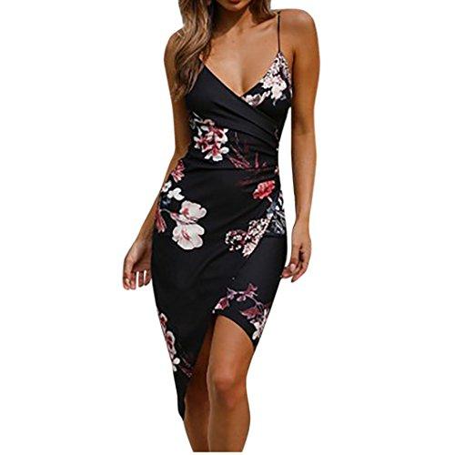 Beikoard vestito donna elegante abbigliamento vestito donna vestito da spiaggia con scollo a v a maniche lunghe con stampa scollo a v sexy delle donne (nero, l)