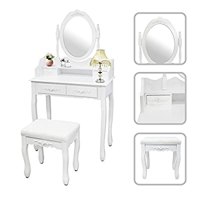 Todeco - Dressing Table, Make Up Table - Material: MDF - Mirror size: 15 x 21.7 inch - 4 drawers, oval mirror with moulding, White - cheap UK light store.