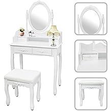 Todeco - Toletta Da Trucco, Tavolino Da Trucco - Materiale: MDF - Dimensione dello specchio: 38,1 x 55,1 cm - 4 cassetti, specchio ovale con modanatura, Bianco
