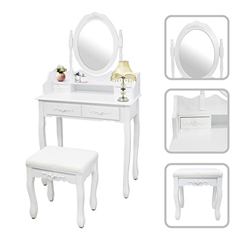 Todeco - Coiffeuse, Table de Maquillage - Matériau: MDF - Dimensions du miroir: 38,1 x 55,1 cm - 4 tiroirs, miroir oval moulé, Blanc