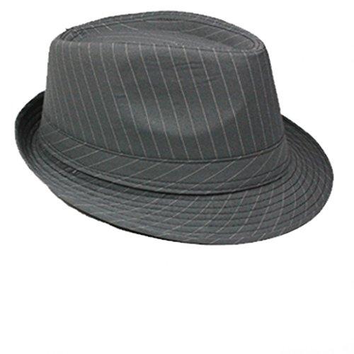 Emeco Trendy Fedora Trilby Al Capone Hut Mafia Mafiahut Gangs NADELSTREIFEN HAT 025 (58, GRAU) -