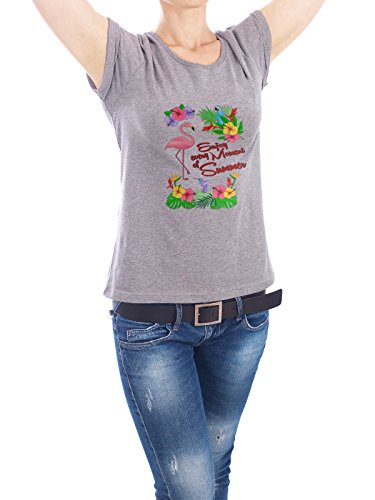 "Design T-Shirt Frauen Earth Positive ""Enjoy every Moment of Summer"" - stylisches Shirt Typografie Floral Natur von Amely Sharon Maacken Grau"