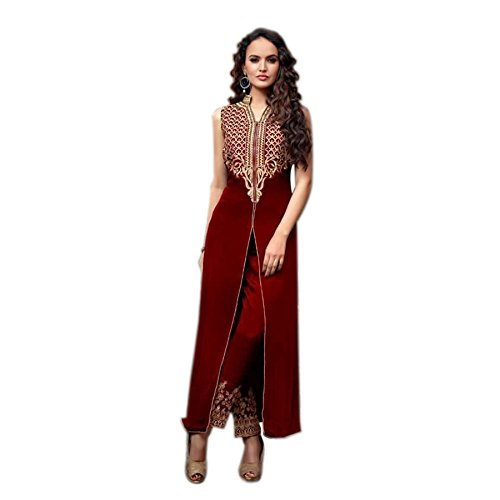 Ethnic Empire Women\'s Georgette Semi Stitched Anarkali Salwar Suits (Eed-Ea10744_Mahroon_Free Size)