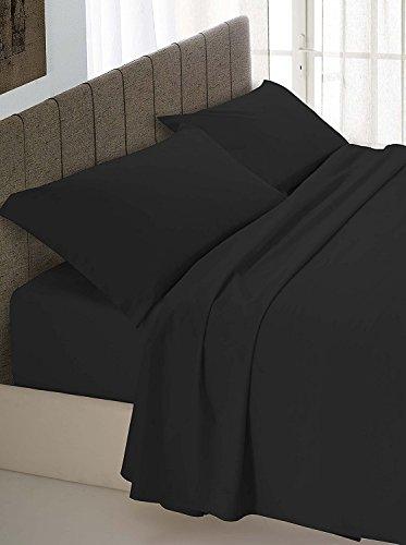 Completo lenzuola nero nere 100% cotone italiano per letto matrimoniale