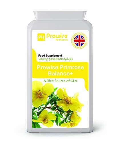 Prowise Nachtkerzenöl 1000mg 90 Kapseln - Unterstützt ausgeglichene Hormonspiegel, Menstruationsgesundheit in Frauen - UK hergestellt nach GMP Garantierte Qualität - Nachtkerzen Samen Öl