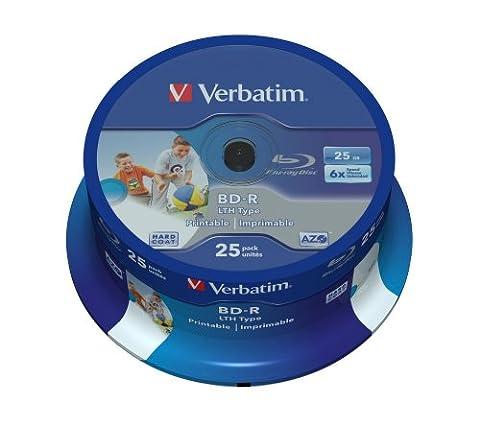 Verbatim BD-R SL LTH Blu-ray Rohlinge (6x Speed, 25GB, 25er Spindel) Wide Inkjet Printable