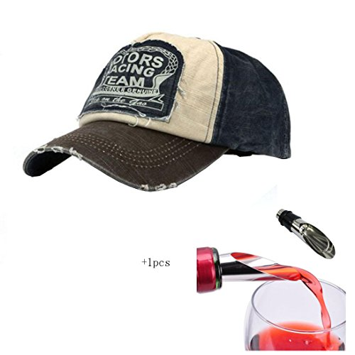 Malloom® Nueva unisex gorra de béisbol algodón mezclado motocicleta Gorra molienda borde do old Sombrero (café)