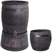Wasserfass Regentonne Wasserbehälter Amphore Eichenfass 120 Liter mit Ständer + Pflanzkübel Eiche M