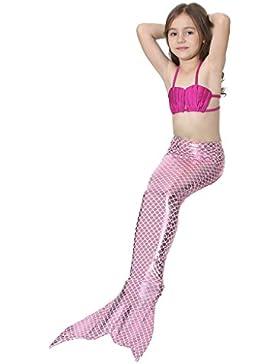 Deylay Mermaid Tail Swimwear Girls 3pcs Set Sparkle Mermaid Bikini Swimsuit