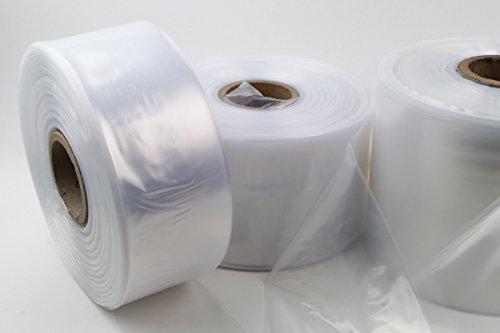 LDPE Schlauchfolie 350mm breit, 50my stark, transparent und scannerlesbar, lebensmittelechte Beutelfolie auf Rolle 500m Lauflänge