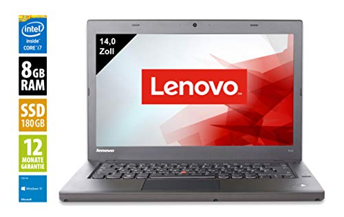 Lenovo Thinkpad T440 Notebook / Laptop | 14 Zoll Display | Intel Core i7-4600U @ 2,1 GHz | 8GB DDR3 RAM | 180GB SSD | Windows 10 Pro (Generalüberholt) -
